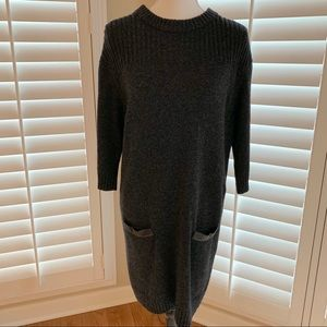 Milly Grey Back Zip Faux Leather Sweater Dress